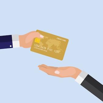 Rapidamente conceito de pagamento. mão dando cartão de crédito para outra mão
