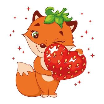 Raposa a abraçar coração de morango