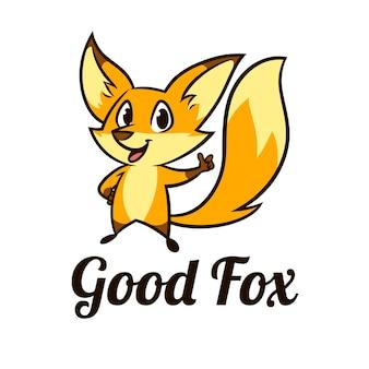 Raposa adorável e bonito dos desenhos animados personagem mascote logotipo