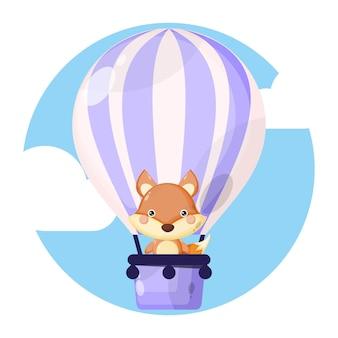 Raposa balão de ar quente personagem fofa