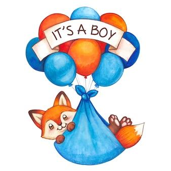 Raposa bebê fofo aquarela menino voando em balões de ar