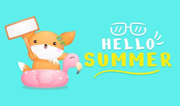 Raposa bebê fofo segurando uma placa com a faixa de saudação de verão