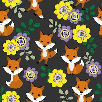 Raposa bonita e flor flor sem costura padrão