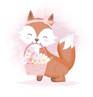 Raposa bonita e flor na cesta, mão desenhada ilustração dos desenhos animados
