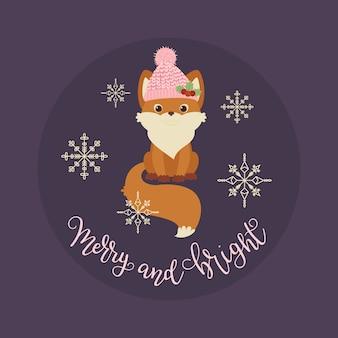 Raposa bonita em um chapéu de inverno