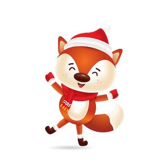 Raposa bonitinha dançando com gorro vermelho e lenço vermelho
