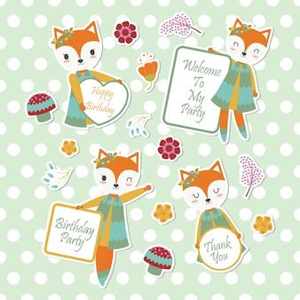 Raposa bonitinha e flores adequadas para o conjunto de adesivo de criança