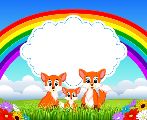 Raposa bonito com fundo do arco-íris