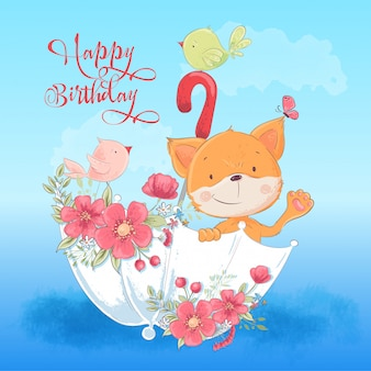 Raposa bonito do cartaz do cartão e um pássaro em um guarda-chuva com as flores no estilo dos desenhos animados. desenho à mão.