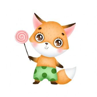 Raposa bonito dos desenhos animados com doces
