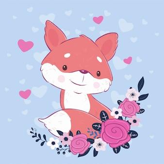 Raposa bonito dos desenhos animados com um buquê de rosas