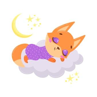Raposa bonito dos desenhos animados dormindo numa nuvem.