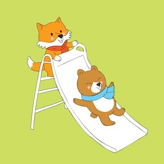 Raposa bonito dos desenhos animados e urso que joga o vetor do slider.