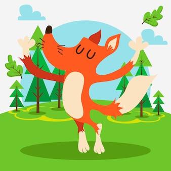 Raposa bonito na floresta