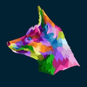 Raposa colorida em ilustração vetorial de estilo pop art