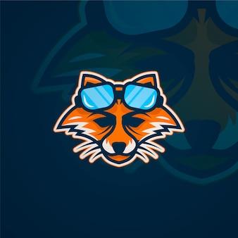 Raposa com logotipo de mascote de óculos