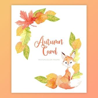Raposa de aquarela e cartão de folhas de outono