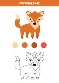 Raposa de desenho bonito de cor. planilha para crianças.