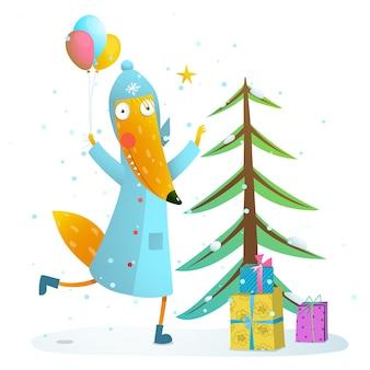 Raposa de férias de inverno comemorando com presentes para crianças