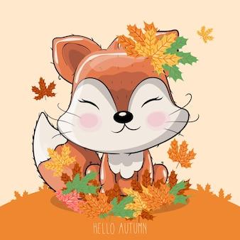 Raposa desenhada à mão com folhas de outono