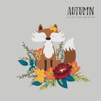 Raposa doce com flores de outono