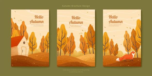 Raposa e casa branca na floresta de outono com folhas voadoras, conjunto de ilustração de outono