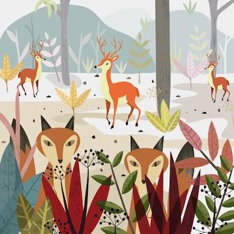Raposa e cervos do lobo nos desenhos animados da floresta.
