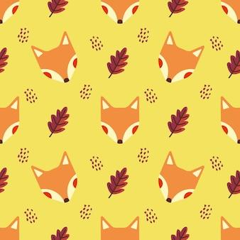 Raposa e folha de outono animal vetor sem costura de fundo
