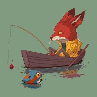 Raposa e sapo pescando no lago