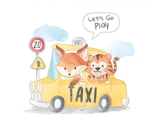 Raposa e tigre fofos em ilustração de táxi amarelo