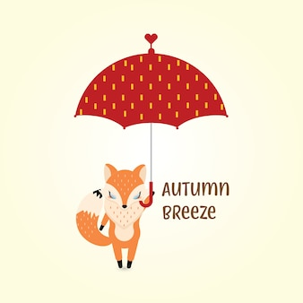 Raposa em brisa de outono