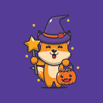 Raposa fofa bruxa com varinha mágica carregando abóbora de halloween ilustração fofa dos desenhos animados de halloween