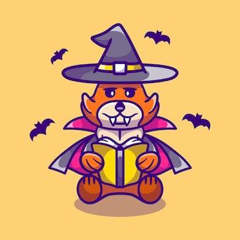 Raposa fofa bruxa de halloween lendo um livro