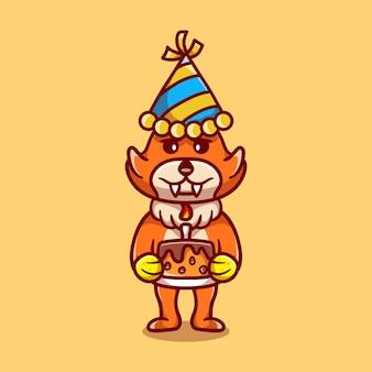 Raposa fofa comemorando feliz ano novo ou aniversário