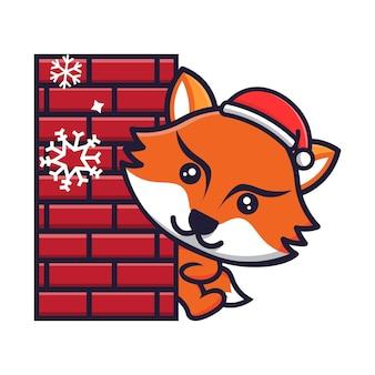 Raposa fofa comemorando o natal