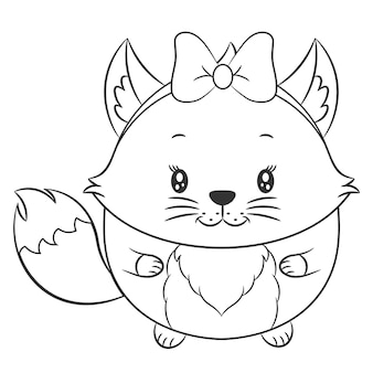 Raposa fofa desenho esboço para colorir