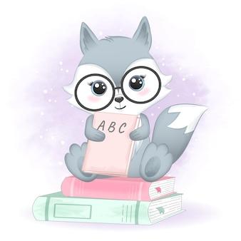 Raposa fofa e livros, ilustrações desenhadas à mão