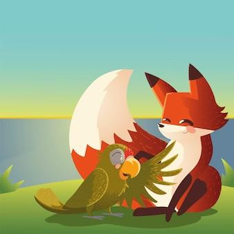 Raposa fofa e papagaio na grama cartoon ilustração animal