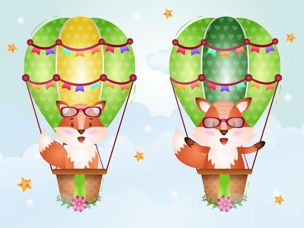 Raposa fofa em balão de ar quente