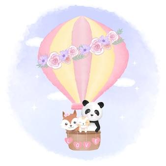 Raposa fofa, gato e panda flutuando no balão de ar quente
