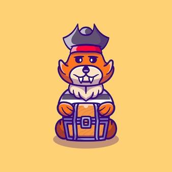 Raposa fofa pirata de halloween carregando baú de tesouro