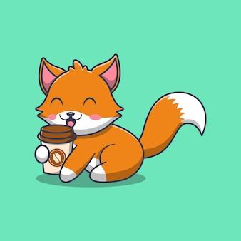 Raposa fofa segurando uma ilustração dos desenhos animados da xícara de café