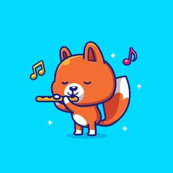 Raposa fofa tocando flauta