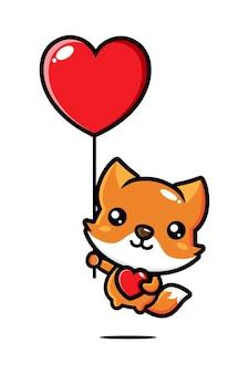Raposa fofa voando com um balão do amor isolado no branco