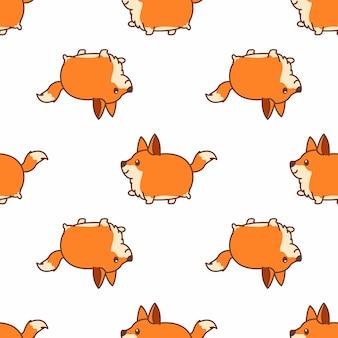 Raposa gorda andando cartoon sem costura padrão vector