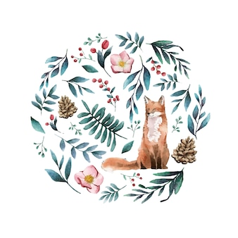 Raposa na natureza pintada por aquarela