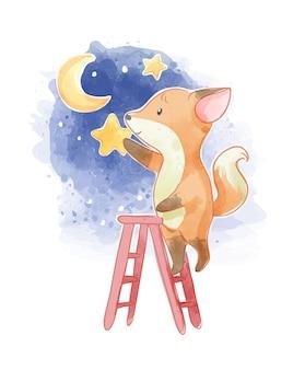 Raposa subindo escada para ilustração de noite estrelada
