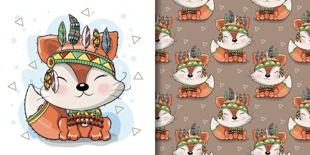 Raposa tribal bonito dos desenhos animados com penas, padrão sem emenda