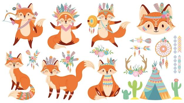 Raposa tribal. conjunto de raposas bonitas, chapéu de guerra de penas indianas e ilustração dos desenhos animados de animais selvagens.