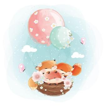 Raposa trigêmeos voando com balões